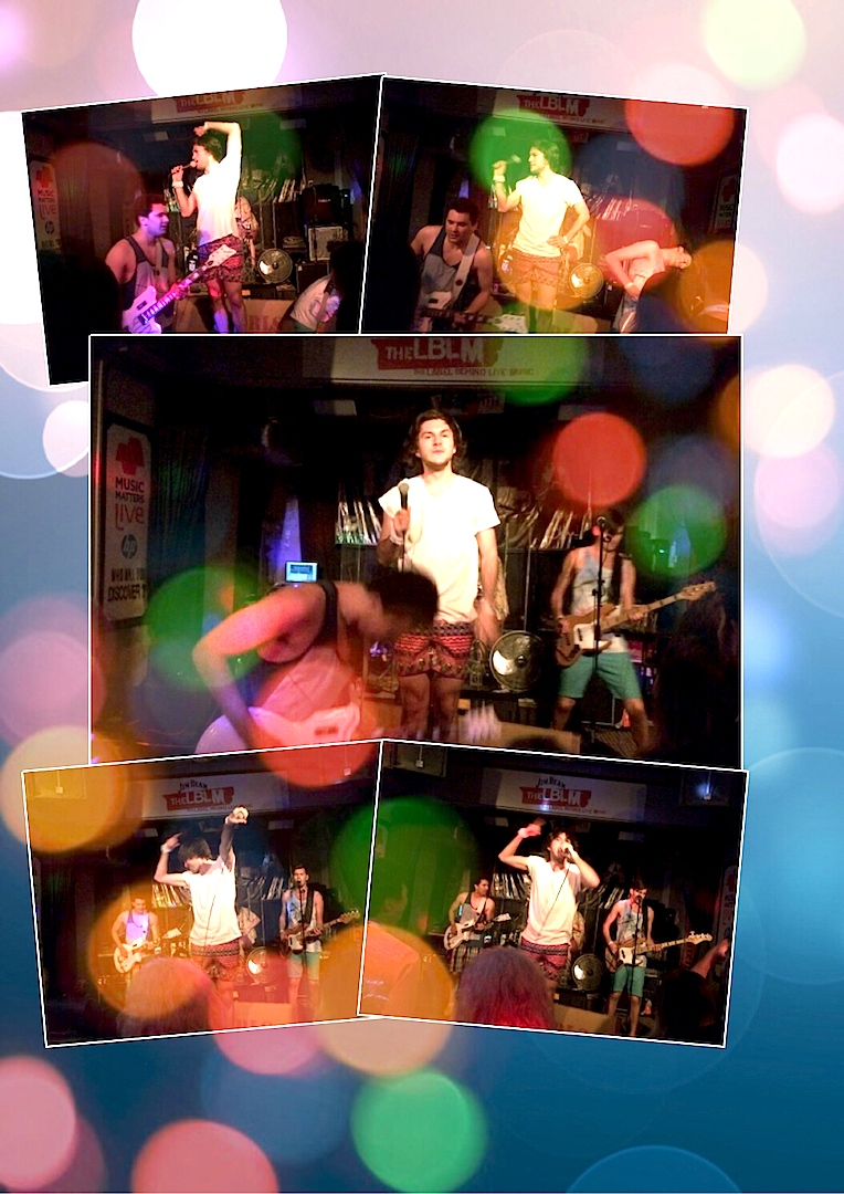 Collage of the band's performance at China One. 22nd May
