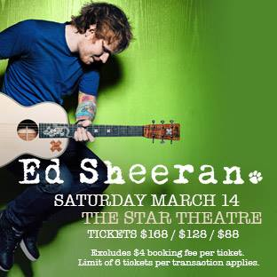 ED SHEERANS CONCERT IN SINGAPORE SELLS OUT IN EIGHT HOURS.