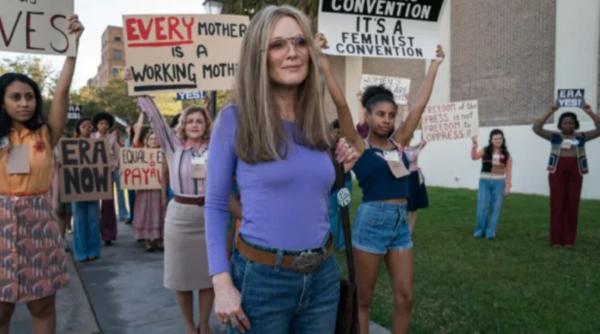 Julianne Moore as Gloria Steinem in The Glorias.