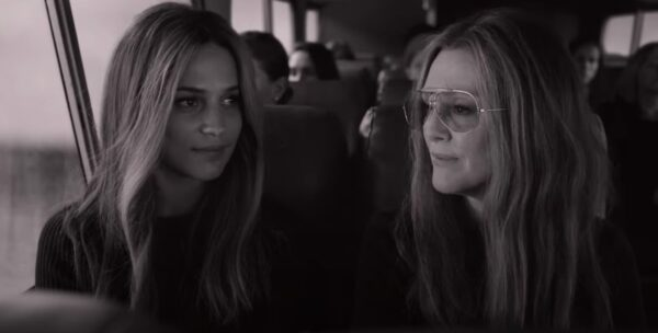 Alicia Vikander and Julianne Moore both as Gloria Steinem in The Glorias